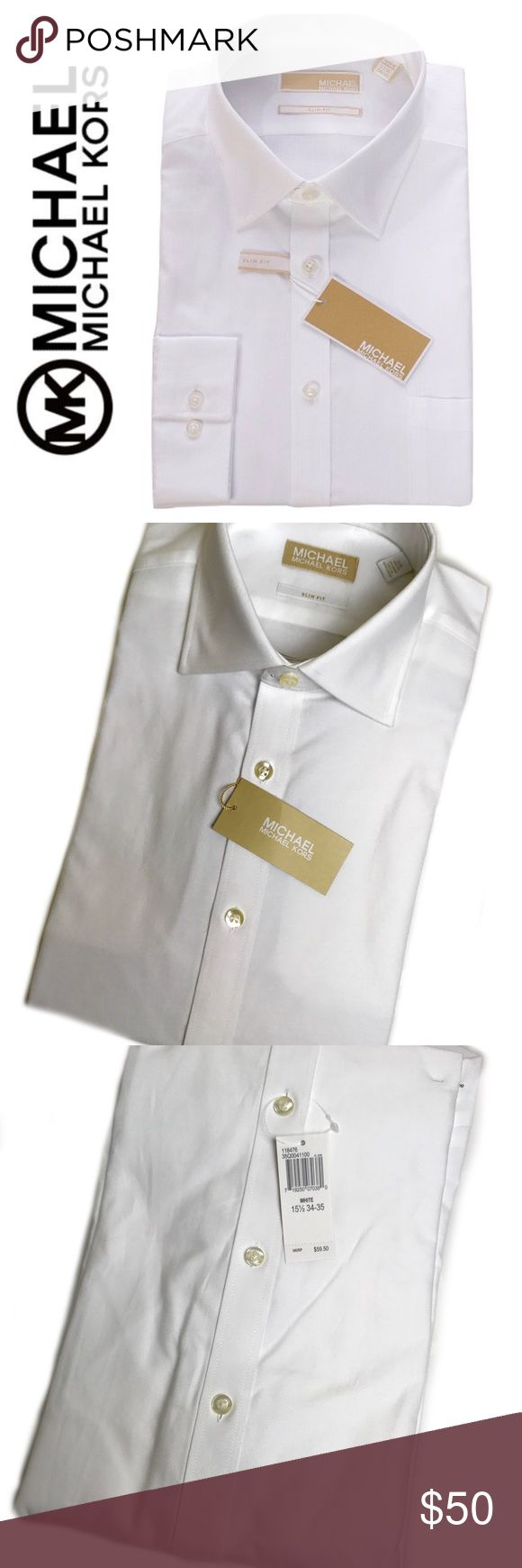 Michael Kors Signature Slim Fit Dress Shirt Michael Kors Signature Slim Fit Dress Shirt in Brilliant White, Size Large 15 1/2, 34/35 Tag, Dress to Impress with this Classic Long Sleeve Dress Shirt, a Must for Every Sophisticated Man's Closet! Michael Kors Shirts Dress Shirts
