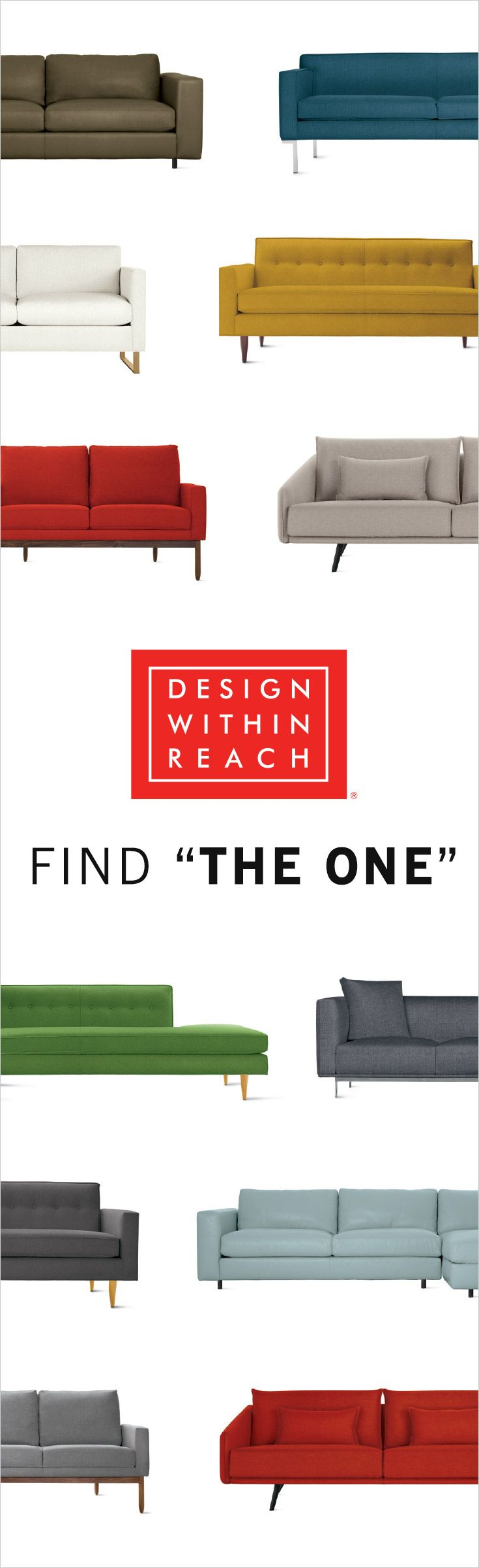 The Sofa Sale at Design Within Reach. Save 15% on select sofas, sectionals and sleepers, as well as lounge chairs, occasional tables and rugs. The Sofa Sale is valid August 2–25, 2016.