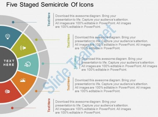 ku five staged semicircle of icons flat powerpoint design Slide01