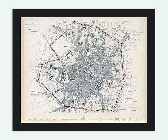 Old Map of Milan Milano, City Plan Italia 1832 Antique Vintage Italy