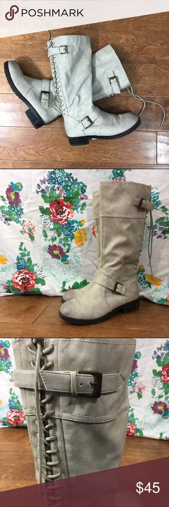 Fergilicious Cream Boots Beautiful cream boots. Fergilicious by Fergie. Lace all the way up the back end with buckles on top & bottom of boot. Worn once, has been in storage. Fergie Shoes Combat & Moto Boots