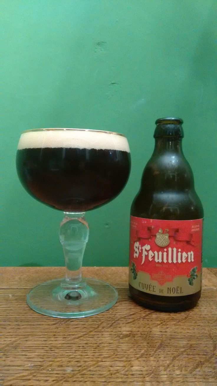 St Feuillien Cuvee de Noel. By the Brasserie St Feuillien in Belgium. Compared to other Belgium Beer this is not the best. However it is a really nice beer. A little bitter with a burnt caramel taste, really good head.