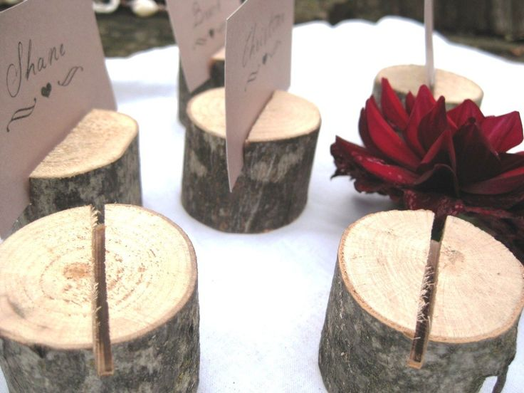 20 round natural wood place card holders - From a Fallen Tree. $22.00, via Etsy.
