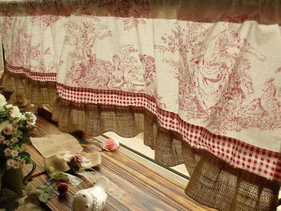 French Rustic Toile Burlap Valance Ruffles ~ Victorian Figures Check ~ Red Cabin