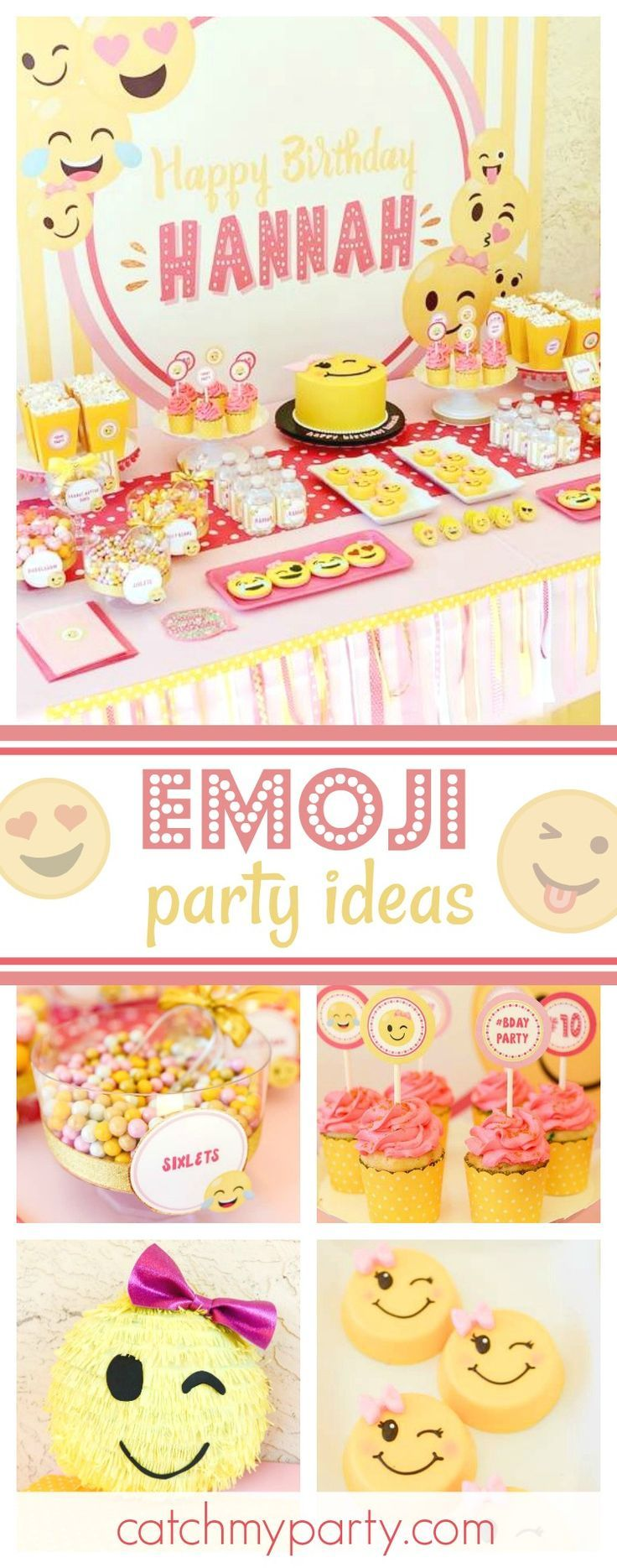 Check out this awesome Emoji birthday party! The dessert table and sweets treats are amazing!! See more party ideas and share yours at CatchMyParty.com