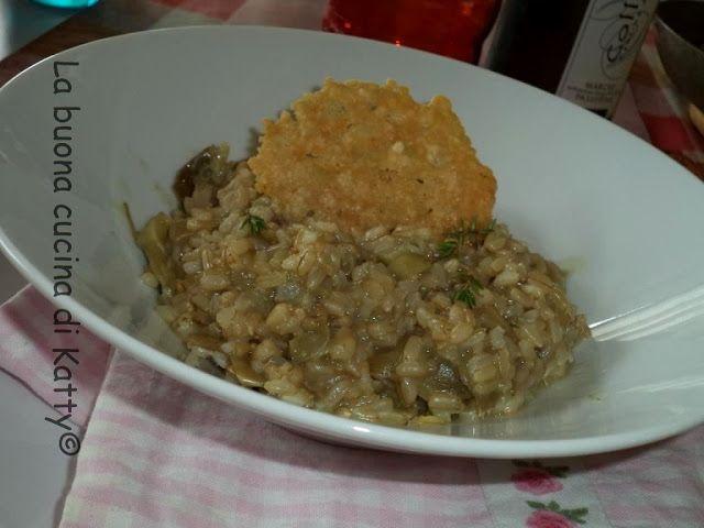 La buona cucina di Katty: Risotto integrale ai carciofi con cialdine di parmigiano - Risotto with artichokes and pods full of parmesan