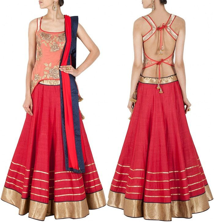 Fall In Love This Red Blouse With Knot at Back By Monica and Karishma @ Looksgud.in  #Designer #KnottedBlouse #Red