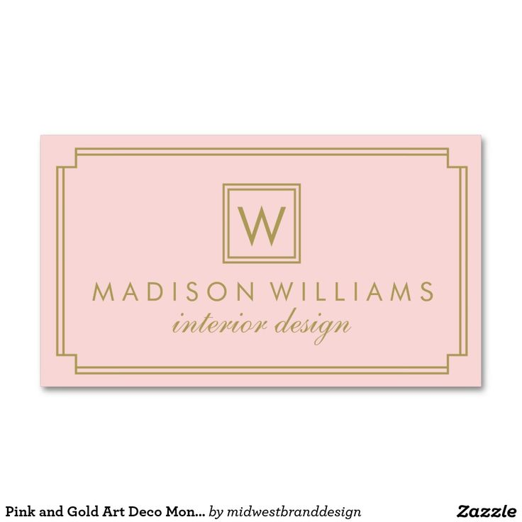 Pink and Gold Art Deco Monogram Standard Business Card