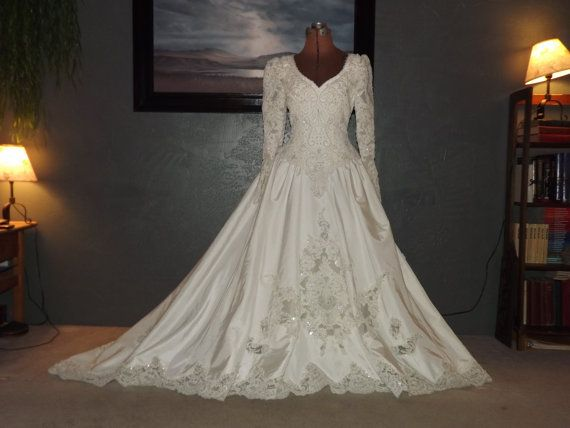 Vintage 1990s wedding gown by Bonny - stunning beadwork with classic design