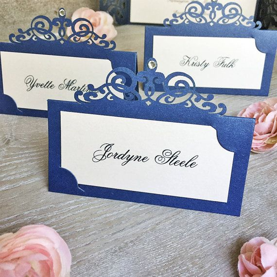Navy and Blush Laser Cut Place Card with Clear Crystal - Escort Card - Custom Placecard for Weddings, Sweet 16, Quincea�era, Bridal Showers