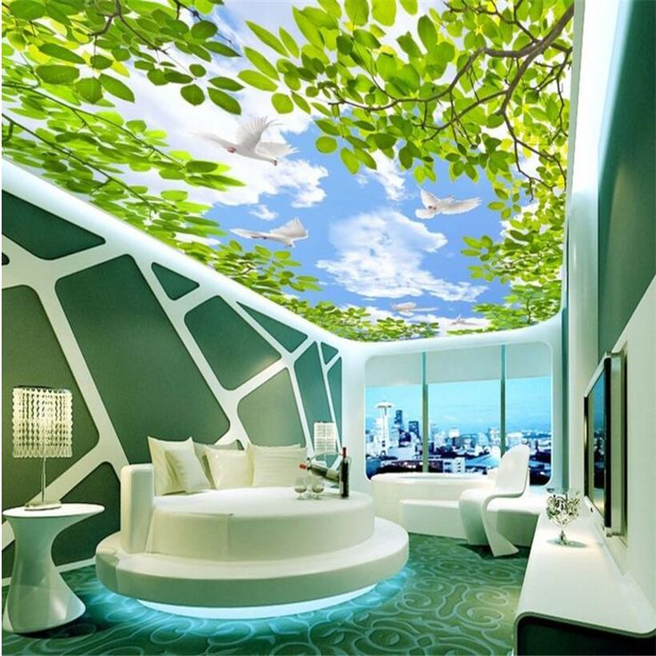 beibehang Personality custom wallpaper blue sky white clouds green leaves sky ceiling murals home decoration #Affiliate