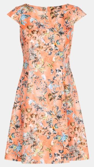 Satin stretch coral with flowers - Stoff & Stil - Here's an idea for a summer party dress.