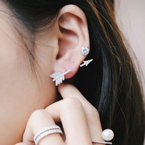 Brand New Silver Earrings Female Stylish Jewelry Arrow Shape Stud Earrings Solid 925 Sterling Silver Accessory Cute Gift - free shipping worldwide
