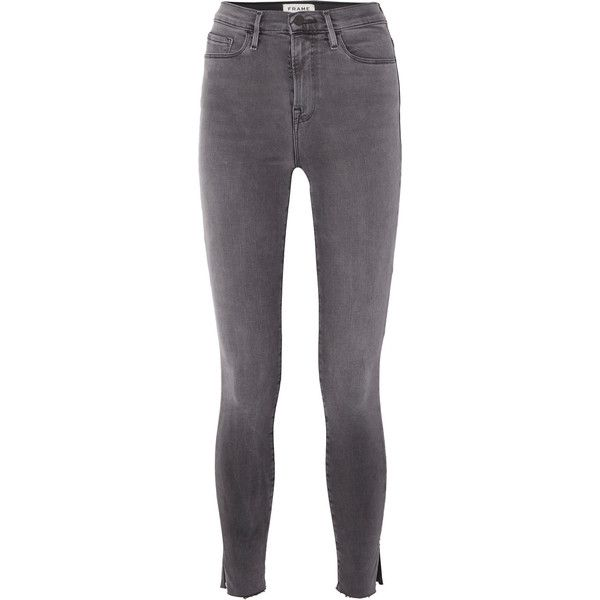 FRAME Ali high-rise skinny jeans ($220) ❤ liked on Polyvore featuring jeans, dark gray, skinny jeans, high-waisted jeans, cuffed skinny jeans, super high rise skinny jeans and high rise jeans