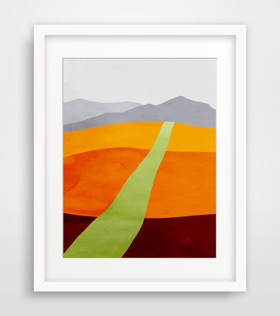 Mid Century Modern Art Print, Abstract Landscape, Fine Art Print, Contemporary Art, Minimalist Poster