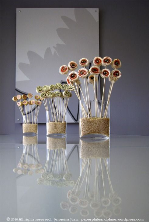 Great way to display finger foods at your party or buffet... food bouquets! pinwheel.