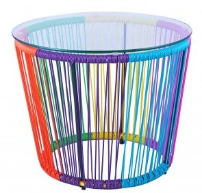 • Suitable to be used in indoor and outdoor environments,  • Galvanised Powder Coated Steel Frame,  • UV Resistant plastic cane weaved chair,  • Dimensions : 70cm width x 45cm height  • Colour : Black Frame With Rainbow UV resistant plastic cane,  • Available in Blue and Yellow, Orange, Blue, Black and White  • Also available Replica Acapulco side table,