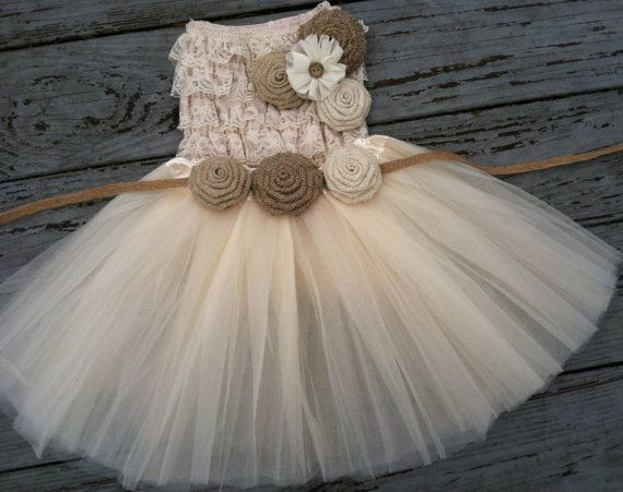 Rustic Flower Girl Dress -Cream/Ivory Tutu/Rustic Flower Girl/Country Flower Girl Dress Cream Cream Lace Top/Country Wedding-Vintage Weddin