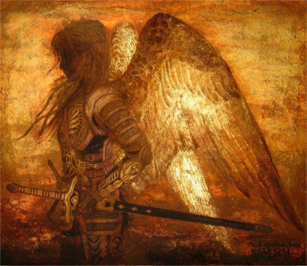 Masaaki Sasamoto  samurai,   golden angel with wings and sword  wings light up with inner fire, http://www16.plala.or.jp/HAL2006/samurai.htm