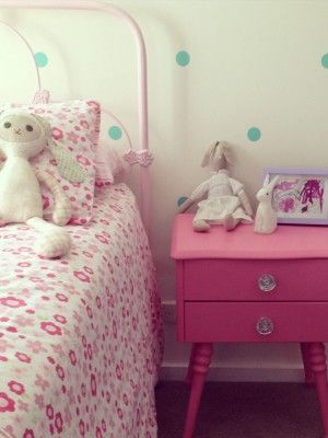 Kids rooms don't need to be all new to look great. This little girls room features pretty pink furniture that has been revived by Speckled Home. South Australia.