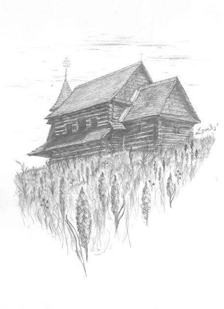 Traditional Slovak drawing cottage like castle by Folkana.deviantart.com on @deviantART