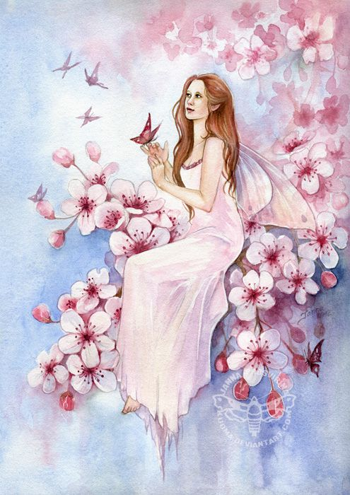 Cherry Blossom by JannaFairyArt on DeviantArt * Fairy Myth Mythical Mystical Legend Elf Faerie Fae Wings Fantasy Elves Faries Sprite Nymph Pixie Faeries Hadas Enchantment Forest Whimsical Whimsy Mischievous