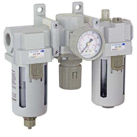 PneumaticPlus SAU400-N04G Compressed Air Filter Regulator Lubricator Combo 1/2 inch NPT - Poly Bowl, Manual Drain, Bracket, Gauge