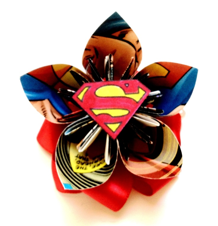 Boutonnieres for the men to match the bridesmaids and bride with the superhero or villain they have