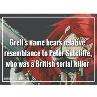 "Peter Sutcliffe is a British serial killer responsible for the death of thirteen women He is also known as ""The Yorkshire Ripper"" Character : Grell Sutcliffe Anime : Black Butler"