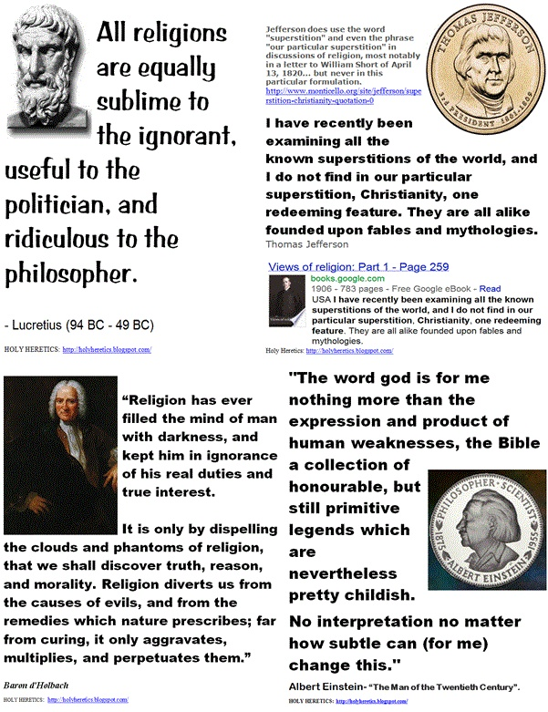 Lucretius, Jefferson, Baron d'Holbach, Einstein on religions equal superstitions
