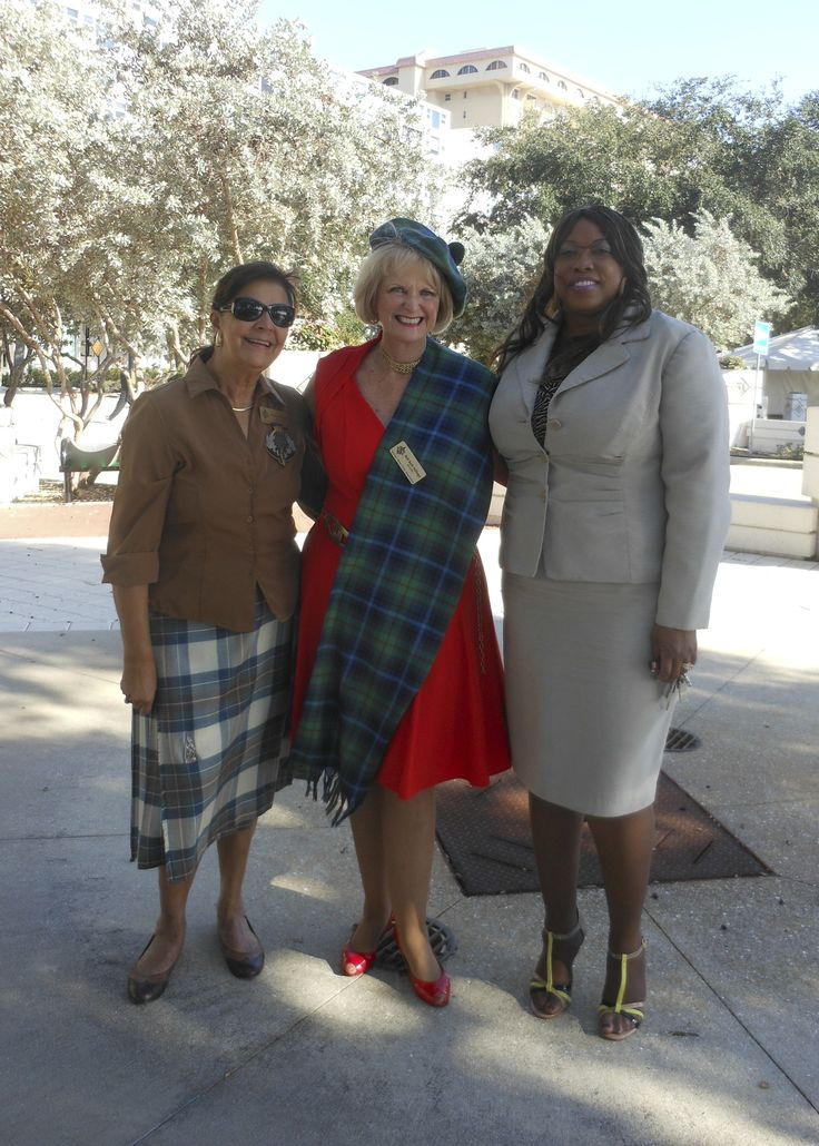 SCAS City Director for Dunfermline, Scotland Pauline Mitchell; SCAS President Beth Ruyle Hullinger & Sarasota City Auditor and Clerk Pam Nadalini at the point of landing in 1885 of the Scot founders of the City of Sarasota