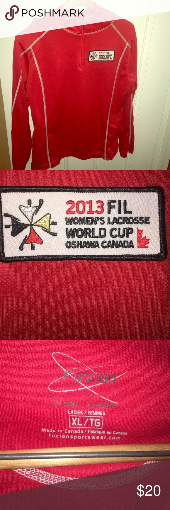 Fuzion Ladies Sportswear 2013 FIL Women's Lacrosse World Cup Oshawa Canada red and gray workout hoodie with half zip. Size XL but fits more of an L. 100% polyester. EUC. Fuzion  Tops Sweatshirts & Hoodies