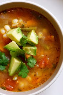 Mexican Vegetable Soup with Lime and Avocado. Made this, but substituted black beans for the hominy for preference. Very flavorful and easy!