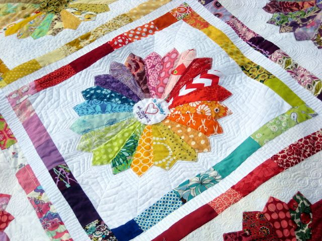 Quilty Habit: Dresden Rainbow: My Finished Wedding Quilt