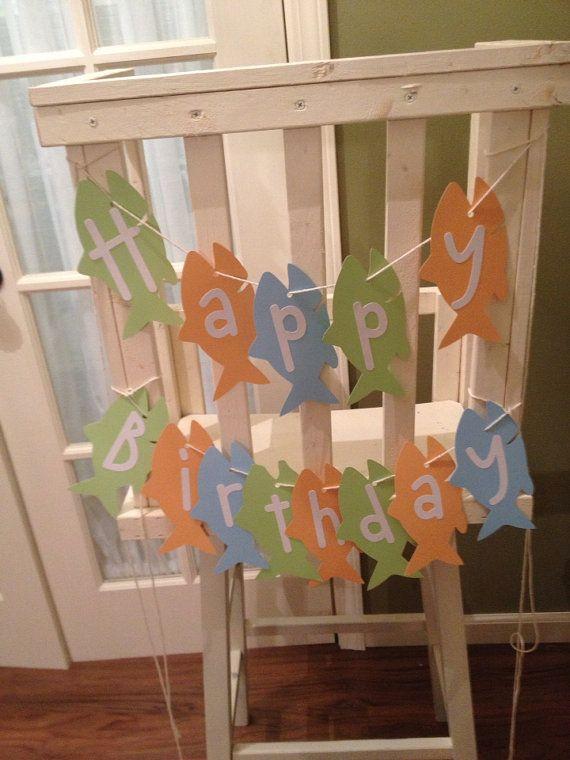 hang on fish netting.  Fish Theme Birthday Party Banner