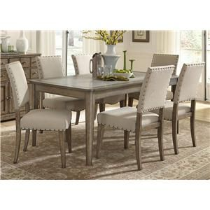 Vendor 5349 Weatherford Casual Rustic 7 Piece Dining Table And Chairs Set