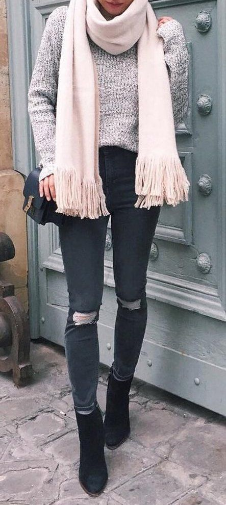 #Winter #Outfits / Gray Sweater + Scarf