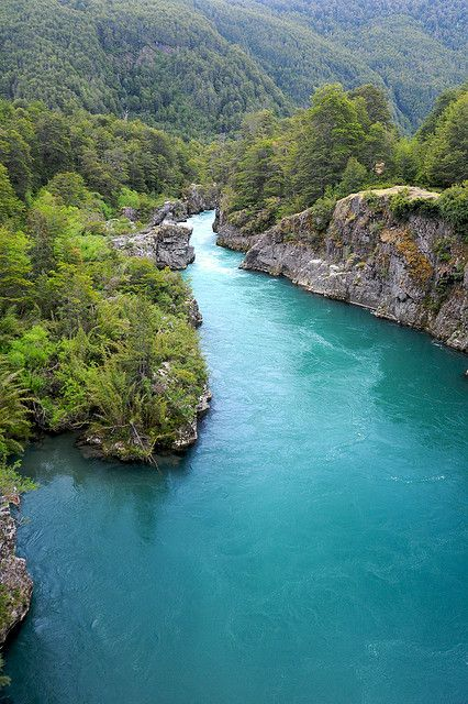 Deep blue glacial waters of Futaleufú River, Chile