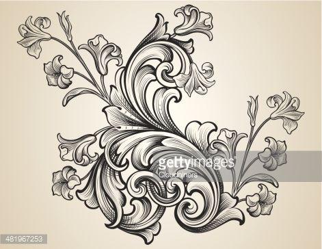Vector Art : Engraved Floral Scrolls