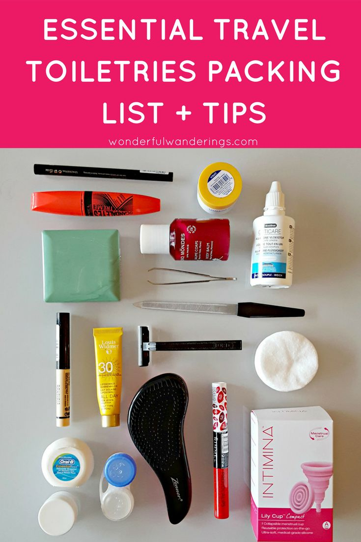 Tips for packing your toiletries for  carry-on only travel, including a list of all toiletries I take on vacation. Check it out!