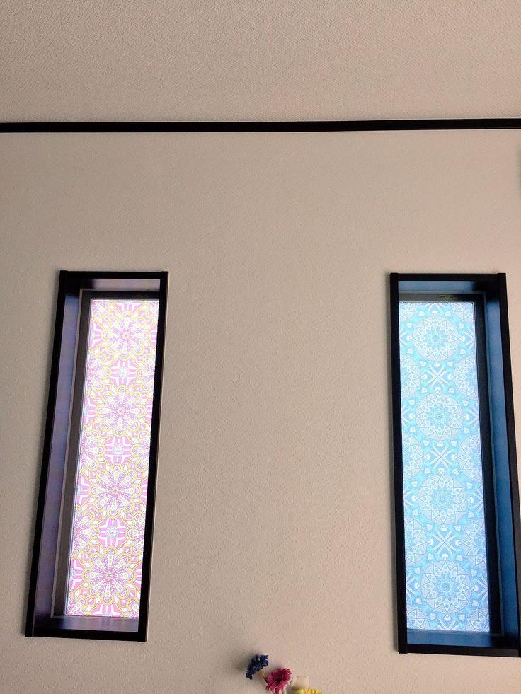 お家の窓をDIY 中川ケミカルのフォグラスシート(すりガラスの模様)にインクジェットを塩ビ糊の設定で出力。メーカーはエプソン。部屋の内側からスキージーで貼り込んだ