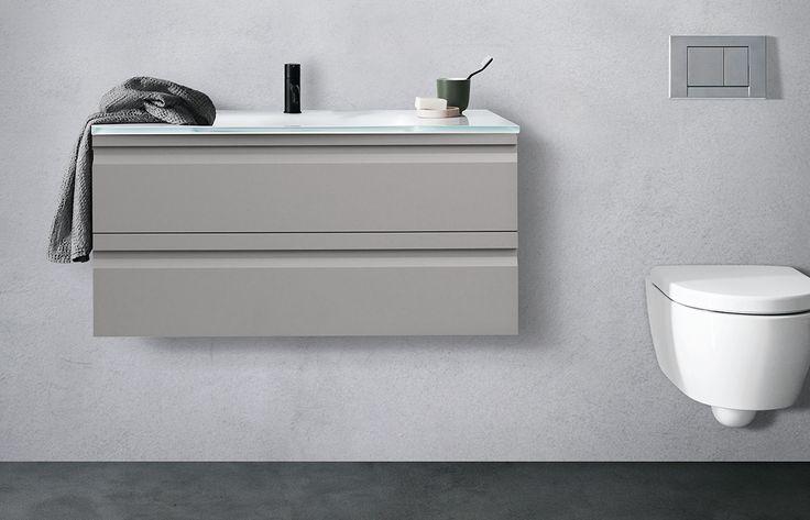 Trend til badet i 2017: Der bruges nye farver og nye overflader på badeværelsesmøbler. Her et møbel fra Dansani i mat grå med gummibelægning