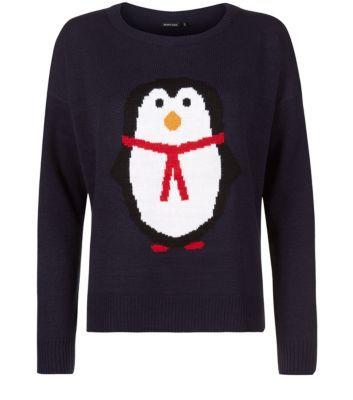Brave Soul Navy Penguin Knitted Christimas Jumper