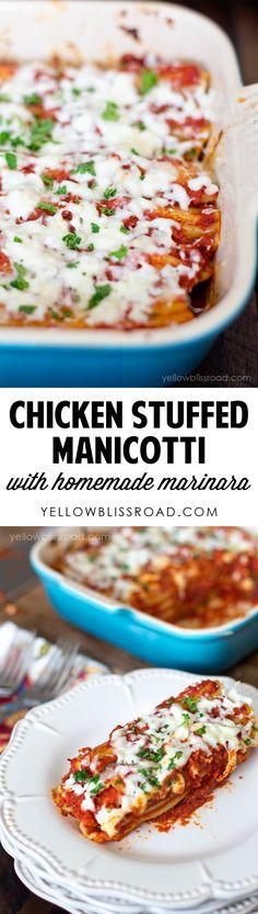 Chicken Stuffed Manicotti with Homemade Marinara. Great dinner recipe!