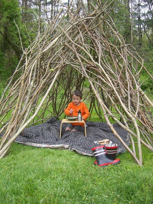 """I want to do this and plant easy to grow vines like morning glory to grow all over. Such a pretty """"fairy house"""""""
