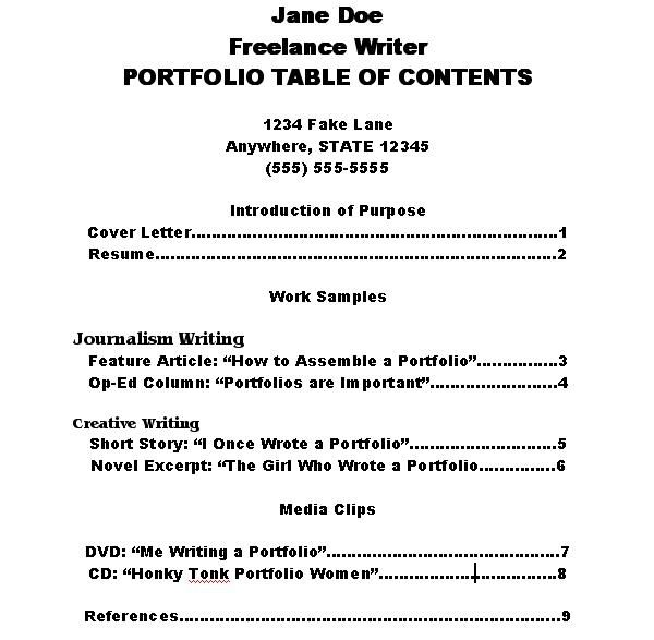 how to make a portfolio table of contents as tables and
