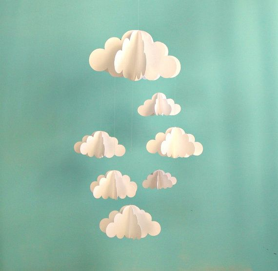 Cloud Baby Mobile Hanging Baby Mobile 3D Paper by goshandgolly