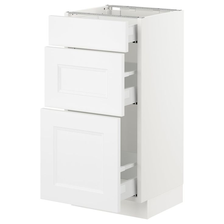 Best Ikea Sektion White Base Cabinet With 3 Drawers Frame 400 x 300