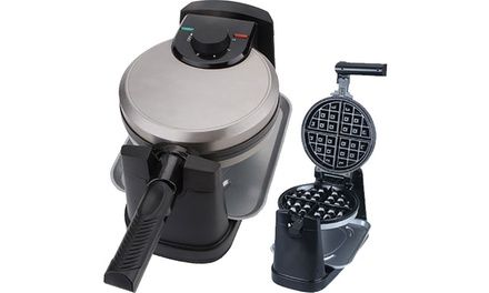 This waffle maker boasts non-stick cooking plates, variable temperature control and a 180° rotation feature for even cooking