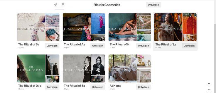 De Pinterestpagina van Rituals Cosmetics is heel eenvoudig ingedeeld, maar is een streling voor het oog.  De boards zijn ingedeeld per collectie en is in dezelfde stijl als de website.  Rituals is meester in het creëren van sfeer met beelden, wat hun producten ook meteen extra aantrekkelijk maakt.